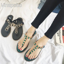 2018 New Summer Women Crystal Sandals Shoes Snake Skin Straps Gem  Rhinestone Flat Sandals Roman Thong Sandals Casual Shoes Woman ffeae666d868