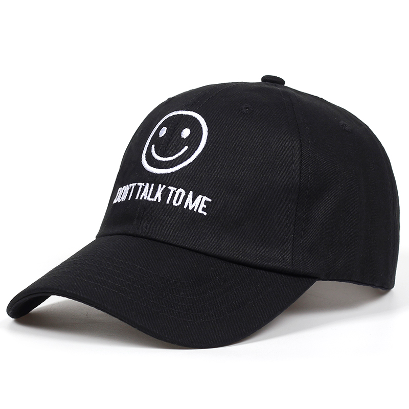 2018 new DONT TALK TO ME dad Hat men women fashion Smiley face Hip hop  Adjustable snapback black Baseball Caps Embroidered Cap-in Baseball Caps  from Apparel ... fb97c3129c29