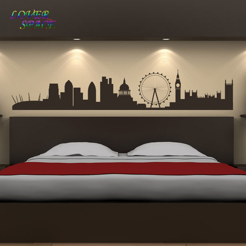 wall stickers living room grey laminate flooring london landmarks sticker skyline art background home decor drawing decals ls58231