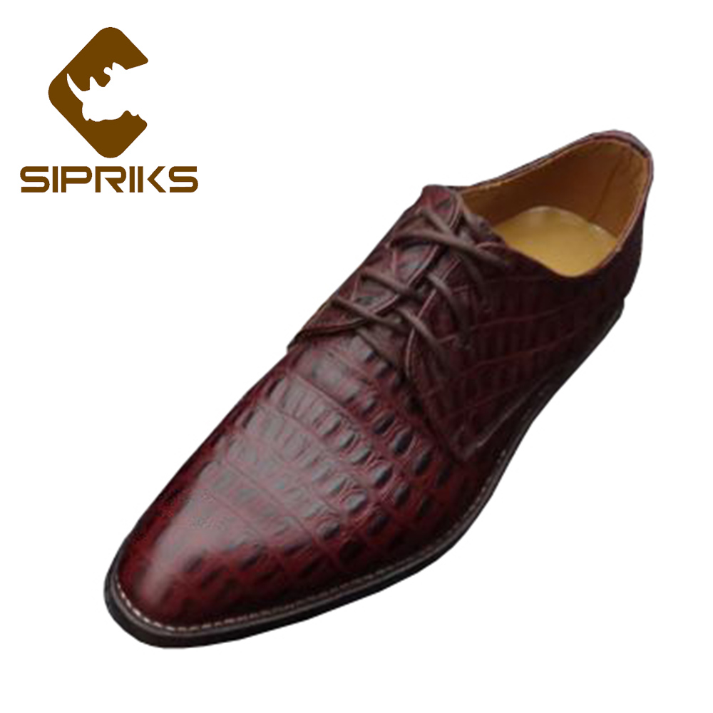 Sipriks Mens Goodyear Welted Dress Shoes Pointed Toe Derby Shoes Crocodile Skin Wedding Shoes Leather Sole Work Shoes European To Clear Out Annoyance And Quench Thirst Shoes