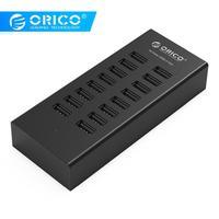 ORICO 16 портов USB2.0 концентратор с адаптером питания 12V2A 3,3 фута/1 м кабель для передачи данных для Apple Macbook Air ноутбук ПК планшет-черный