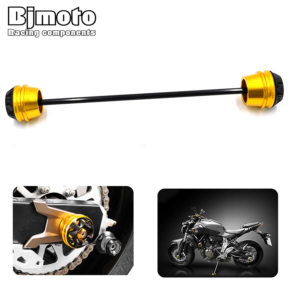 BJMOTO For Yamaha MT-07 MT 07 MT07 2013 2014 2015 2016 2017 Motorbike Rear Wheel Axle Slider Frame Sliders Crash Pads Protective new parts for yamaha mt07 mt 07 2013 2014 2015 aluminum motorcycle cnc crash pads frame slider protector falling protection