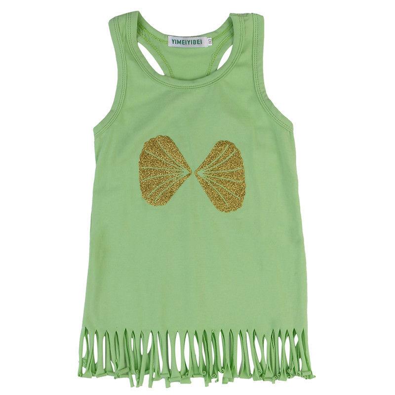 Toddler Kids Baby Girl Summer Beach Sleeveless Tassel Dress Tops Vest Sundress