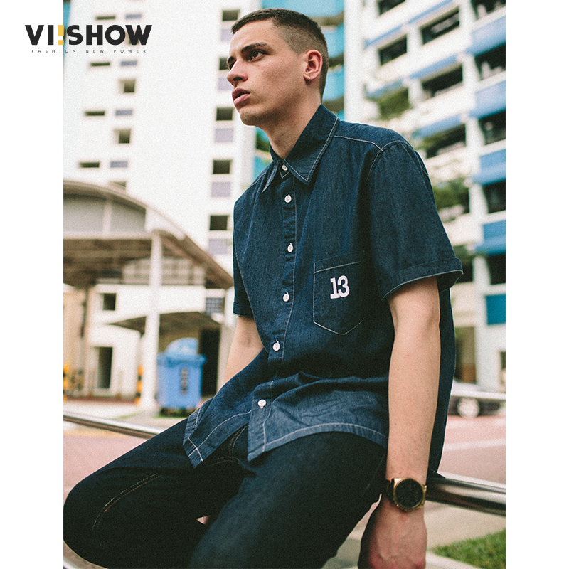 VIISHOW Men Jeans Shirt Cotton Short Sleeve Shirts Men Turn down Collar Cowboy Camisas Chemise Homme CD1476172