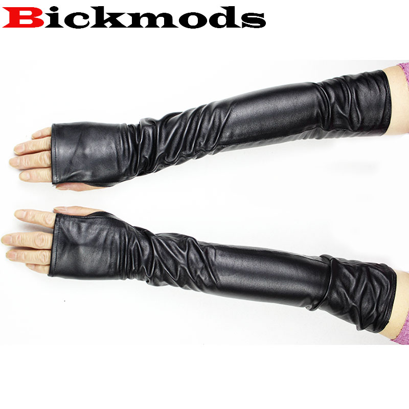 48cm  Women's Sheepskin Fingerless Gloves Straight Style Elbow Length Velvet Lining Warmth Lady Leather Arm Guard