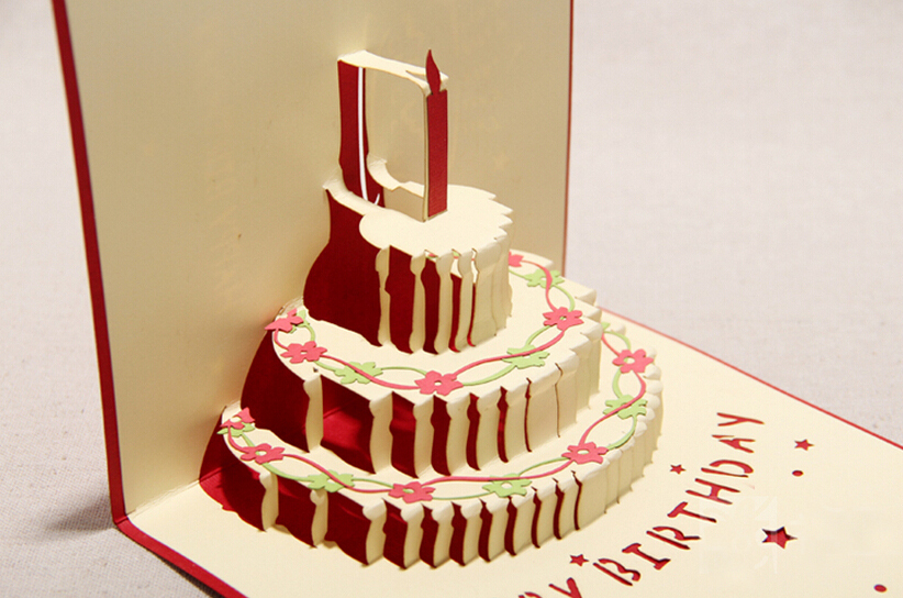 2015 Newly Novelty Paper Craft Birthday Gift Card Greeting Card 3d