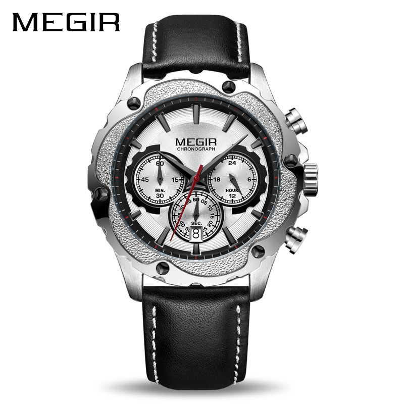 MEGIR Chronograph Sport Watch Men Relogio Masculino Top Brand Luxury Army Military Watches Clock Men Creative Quartz Wrist Watch reef tiger brand men s luxury swiss sport watches silicone quartz super grand chronograph super bright watch relogio masculino