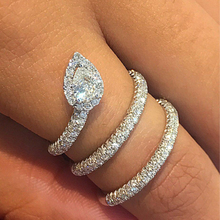 2018 Newest Design long snake Ring with Full Micro Paved CZ Fashion Women Silver Color Rings Wholesale