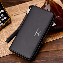 Men leather wallet with strap high quality zipper w