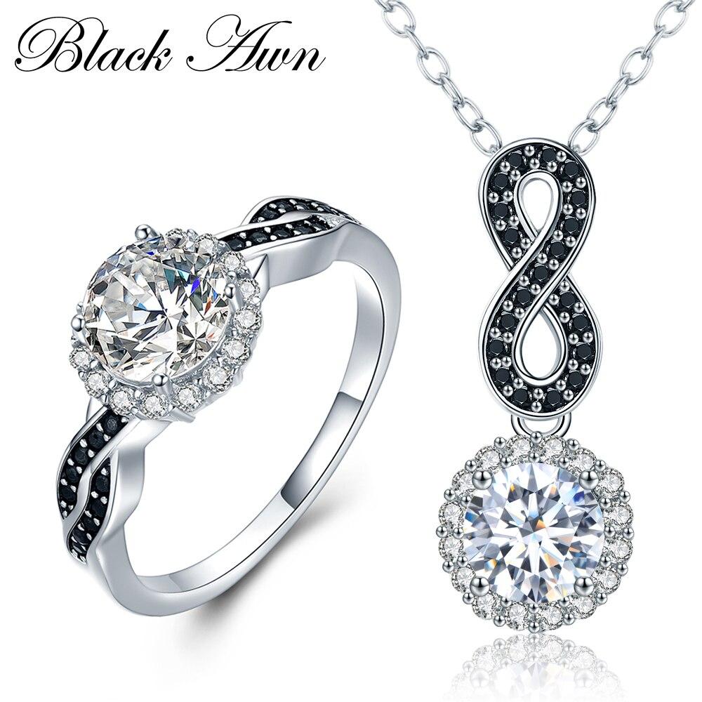 [BLACK AWN] 925 Sterling Silver Fine Jewelry Sady Módní Zásnubní Sady Snubní Prsten + Náušnice pro ženy PR036