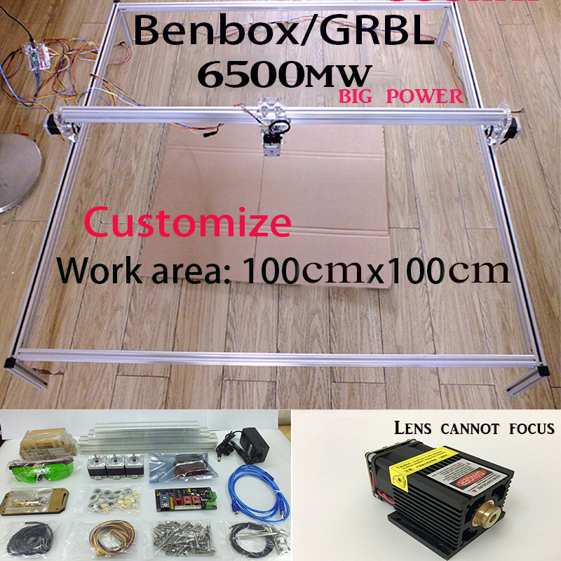 6.5w laser cutter Fancy laser carving 6500mw 100*100cm mini DIY laser engraving machine/IC mark/laser printer/carving work DHLsp laser head owx8060 owy8075 onp8170