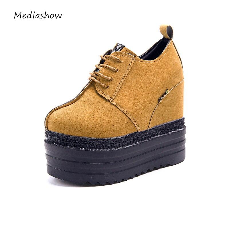 New 2017 fashion high heels lady wedge casual 13CM ...