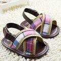 Brown lindo de los niños de la guinga zapatos de los bebés y niñas zapatos del niño para el verano pre-walker zapatos de los niños 11 12 13 cm