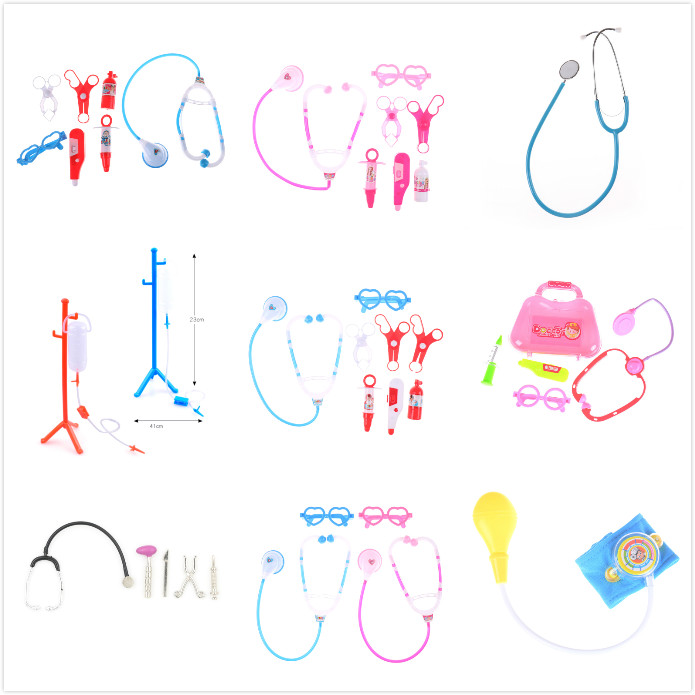 Stethoscope Children Pretend Play Doctor Nurse Toy Set Portable Suitcase Medical Kit Kids Educational Role Play Classic Toys