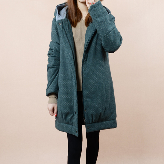 Winter small cotton padded jacket dot polka dot wadded jacket female long design a thickening wadded