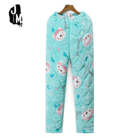 Winter Thicken Sleep Pants Flannel Three Layer Warm Sleep Bottoms Autumn Floral Pajamas Womens Pajama Bottoms