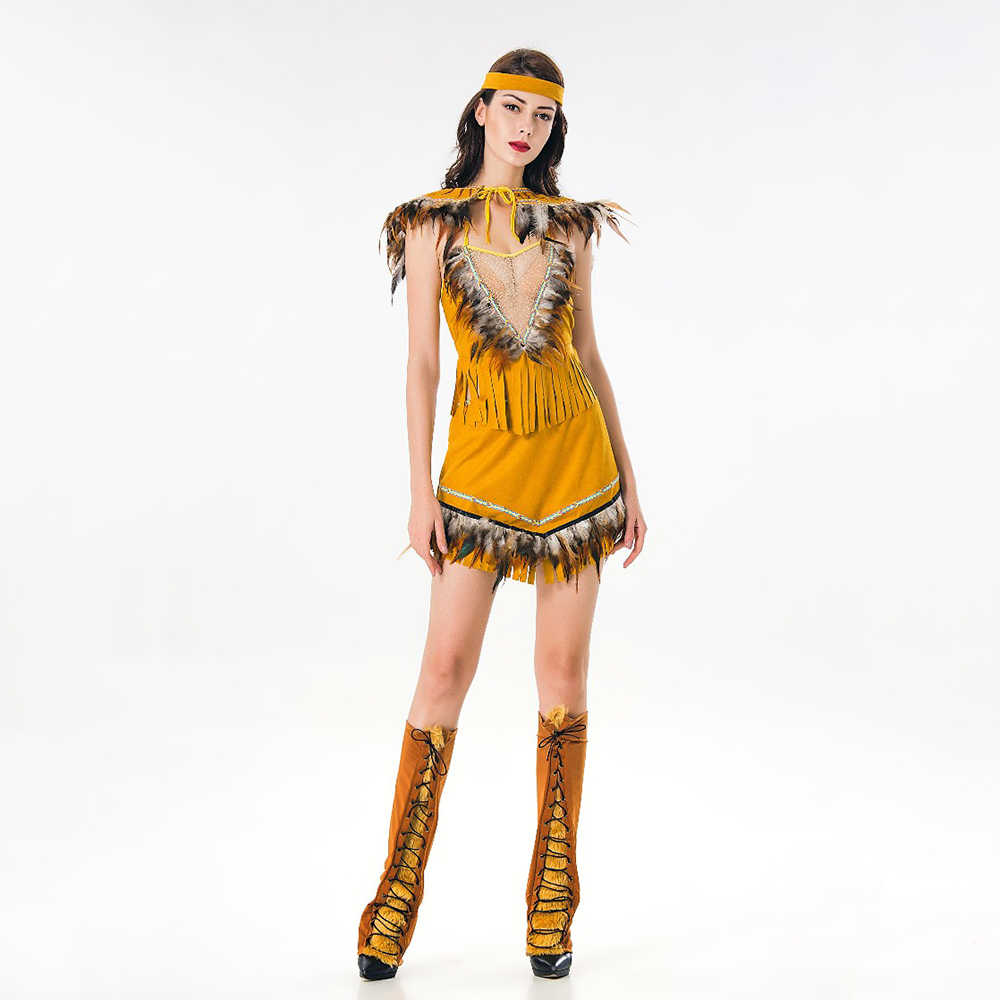 3eca6a216ea 2018 new Adult Pocahontas Princess Indian Maiden Costume sexy Indian  Princess Outfit Native American Indian West Fancy Dress