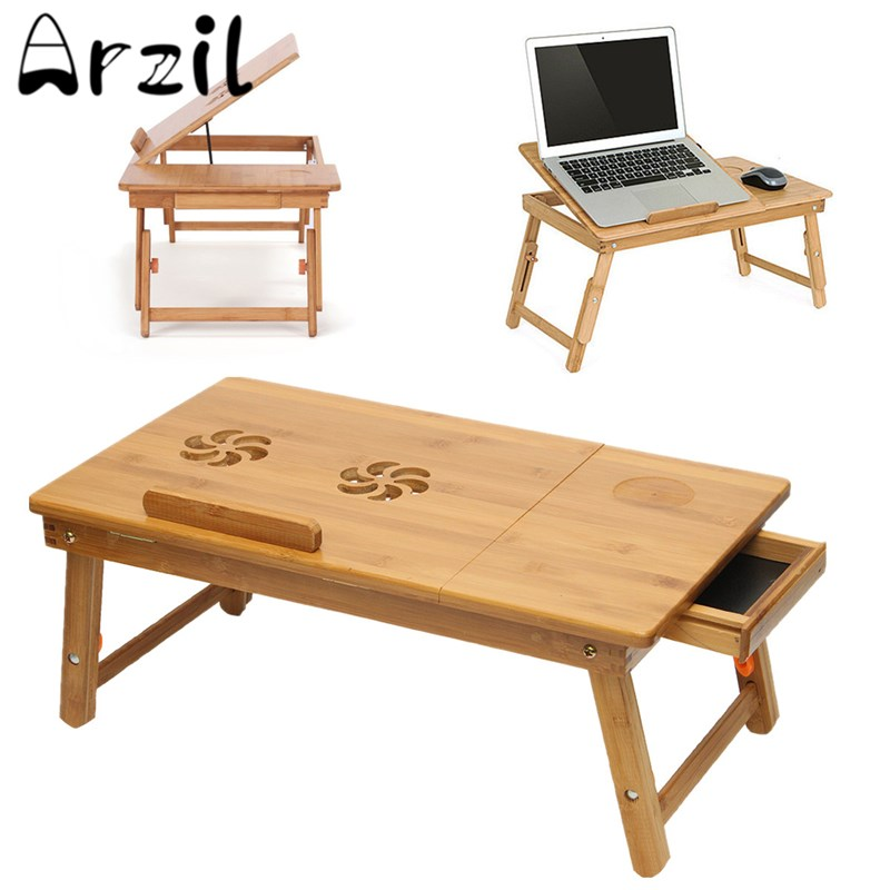 Folding Wood Laptop Tray Table Lap Without Cooler Pad Smaller Size Sofa Bed  Office Stand Table Computer Desk Without Cooler Pad