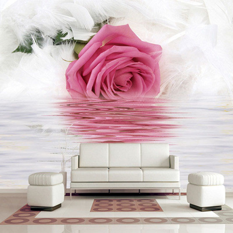 Romantic Rose Feather Reflection On Water Photo Wallpaper Modern Art Interior Design Decor Murals 3D Beautiful Flower Wallpapers