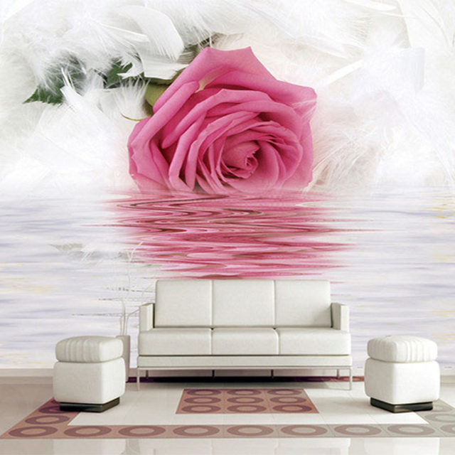 Online Shop Romantic Rose Feather Reflection On Water Photo ...