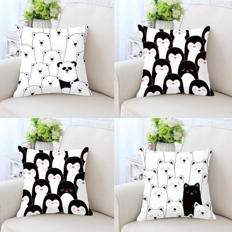 Cute Cartoon Cushion Black And White Prints Bear Puppy Dog Penguin Animals Plush Decorative Pillows For Kids Room Decoration