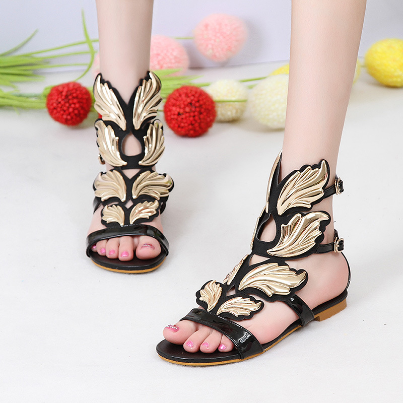 Carole Levy Gladiator Woman Shoes Summer Black Flat With Female Fashion Sexy Cozy Sandals Lady Party Dating Open Toe Lady Sandal