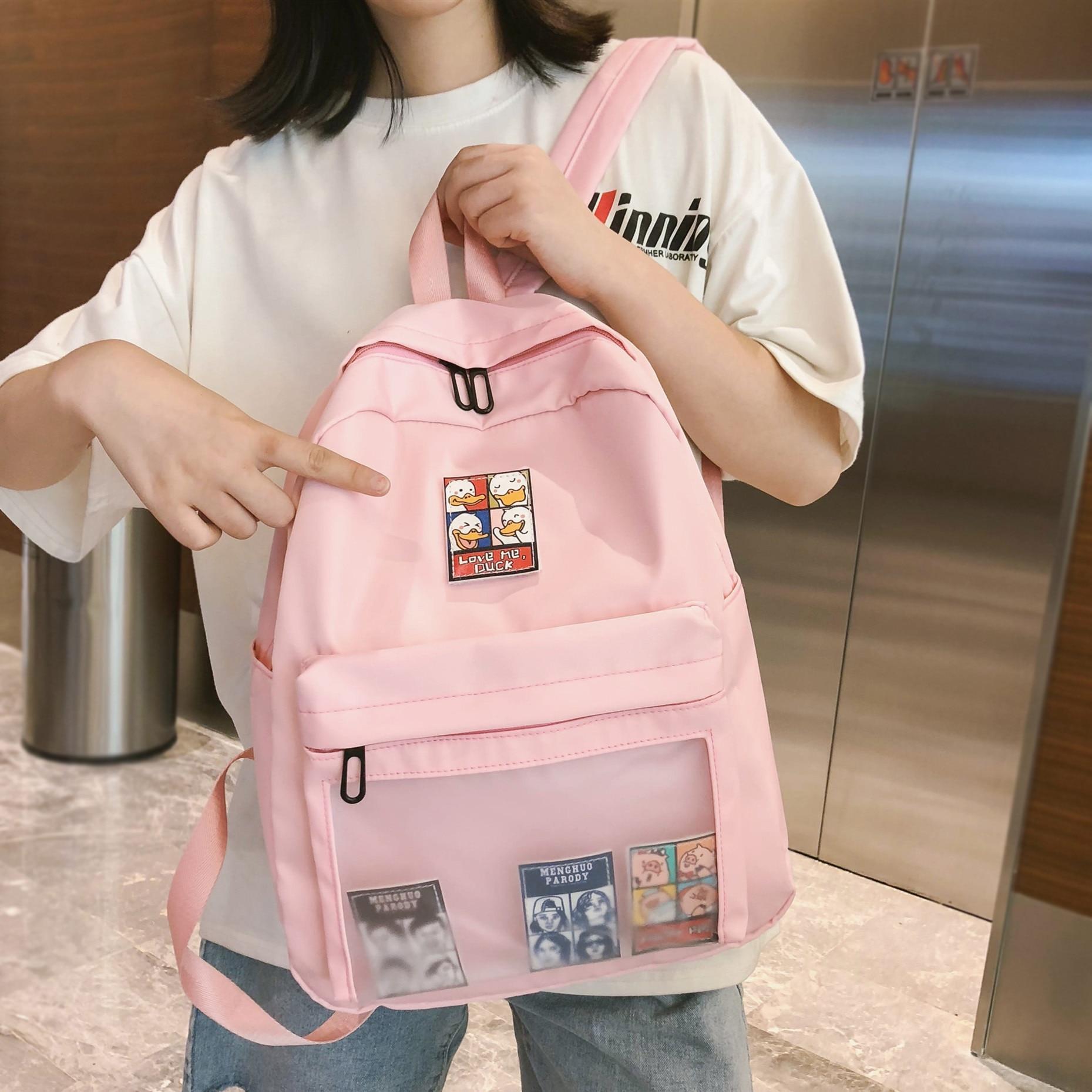 Fashion Women Backpack Nylon Waterproof Cute Label Girls Leisure Bookbag Female Travel Bag  For College Girls Backpack Mochilas