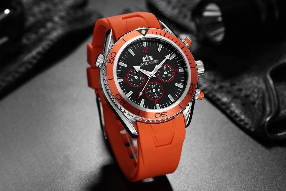 HTB1G6eGh7fb uJjSsrbq6z6bVXak Men Automatic Self Wind Mechanical Stainless Steel Strap James Bond 007 Style Orange Blue Black Dial Bezel Classic Watch