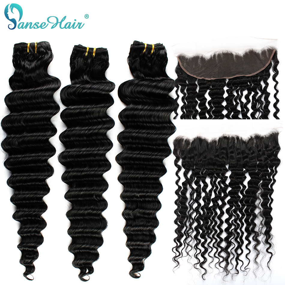 Panse Hair Brazilian Deep Wave Hair Extensions 3 Bundles With A 13 4 Lace Frontal Non