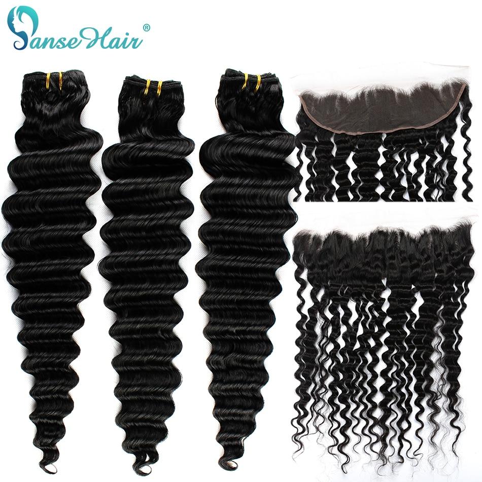 Panse 3 Cabelo Brasileiro Extensões de Cabelo Onda Profunda Pacotes Com UM 13*4 Não Remy Do Cabelo Do Laço Frontal 100% cabelo humano tecelagem