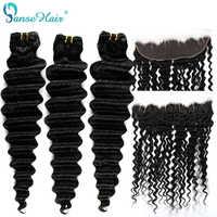 Panse Haar Brasilianische Tiefe Welle Haar Extensions 3 Bundles Mit EINEM 13*4 Spitze Frontal Nicht Remy Haar 100% menschliches Haar weben