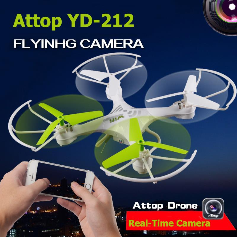Attop YD-212 2.4G 4CH Wifi FPV Phone Headless Drone with 0.3MP HD Camera Real Time Video Helicopter Toy RTF RC Quadcopter F16714 original attop yd 829c 2 4ghz 4ch 6 axis gyro rtf rc quadcopter ufo drone with 2 0mp camera headless mode
