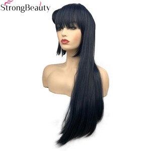 Image 2 - חזק יופי סינטטי ארוך 70 cm כחלחל גריי פאות ישר נשים פאה עם שיער פקעת צושימה Yoshiko