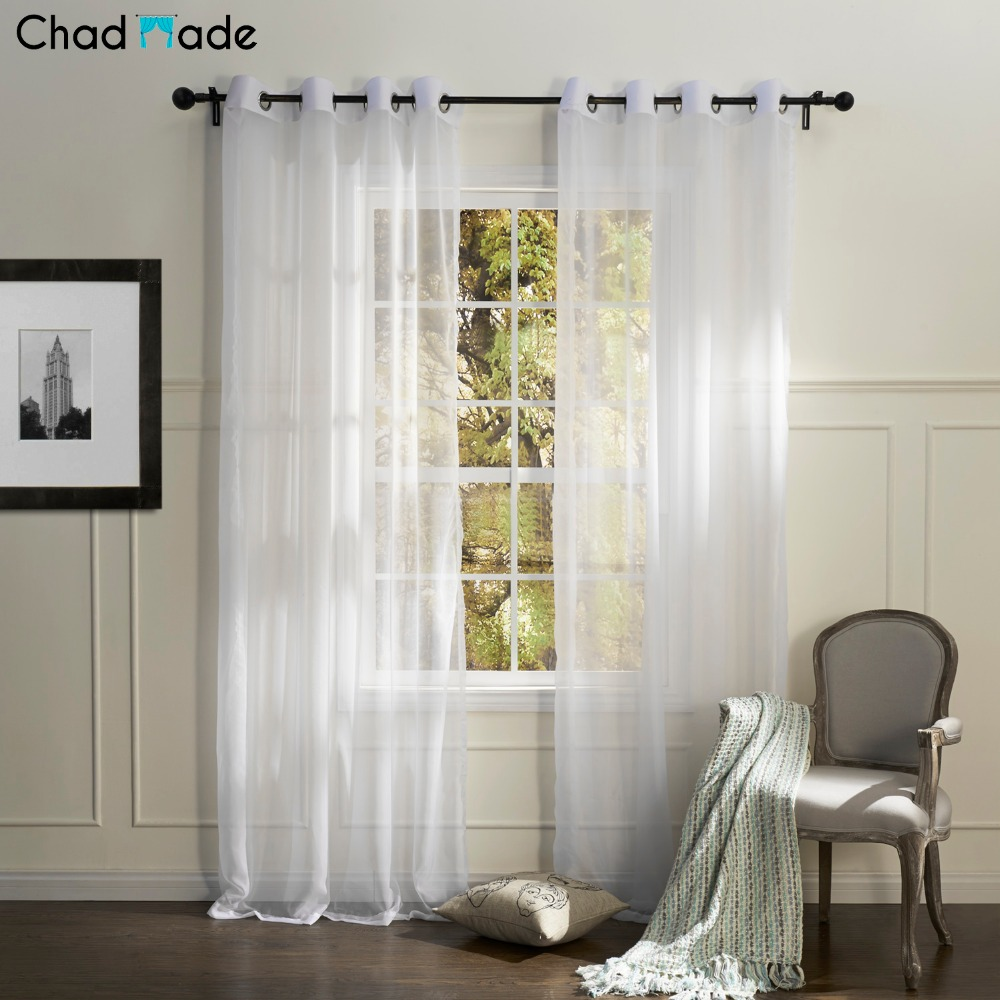 Colored sheer curtains - Chadmade Solid Color Sheer Curtains For Living Room Modern Simple Style Embroidered Sheer Tulle Curtain For