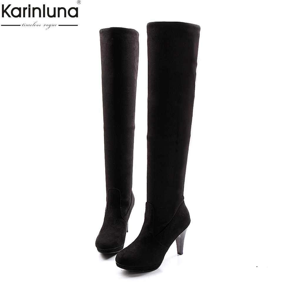 KARINLUNA/Новые Прямая поставка Большие размеры 43 и выше, женские ботинки, теплая зимняя обувь, на шерстяной подкладке, Обувь на высоком каблуке сапоги выше колена женская обувь