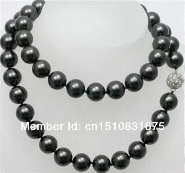 10mm Mar Negro Shell Perla Collar Largo Diseño de Joyería de Piedra Natural 35 pulgadas ux422