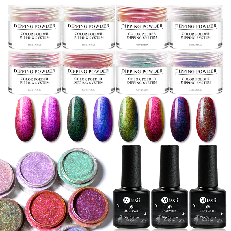 Mtssii Chameleon Dipping Powder Glitter Dip Powder Shining Chrome Pigment Nail Decoration Sequins Dust Manicure Set Magic Color in Nail Glitter from Beauty Health