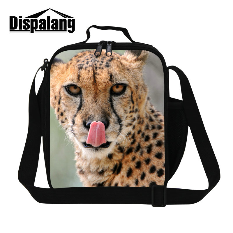 Dispalang personality customized design lunch cooler bags men leopard print school lunch box for teenage boys kids cool food bag