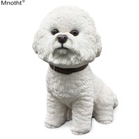 Mnotht Bichon Frise Simulation Dog Resin Puppy Pet Model Animal Toy Scene Accessory for Action Figure Collection Decoration Gift
