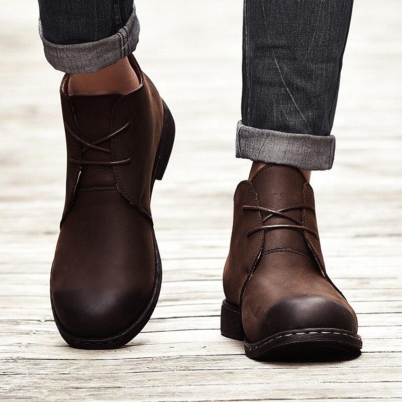 Genuine Leather Men Boots Autumn Winter Ankle Boots Fashion Footwear Shoes Men High Vintage Men Shoes Work Botas plus Size 46 47 autumn winter men shoes vintage design fashion genuine leather ankle boots