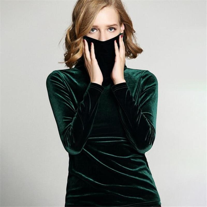 Plus size Turtleneck velvet   Blouses     Shirts   Women's Autumn Winter   Shirts   Tops Velvet Blusas Top M- 5XL 6XL 7XL