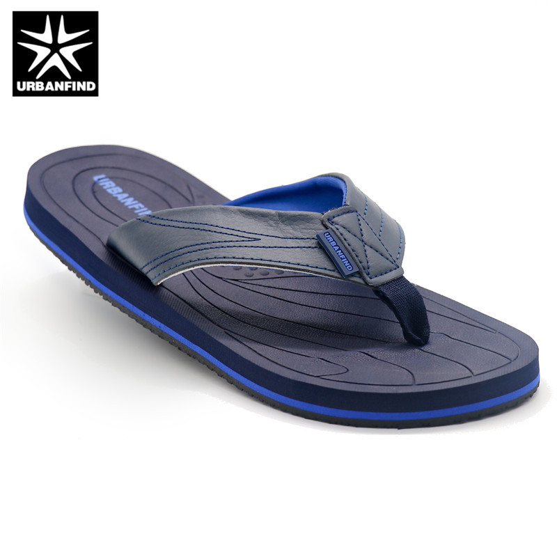 4b6c0ee56abd70 URBANFIND Leather Band Men Casual Slippers Size 41-46 Brand Fashion Flip  Flops Man Summer Shoes Indoor   Outside Footwear