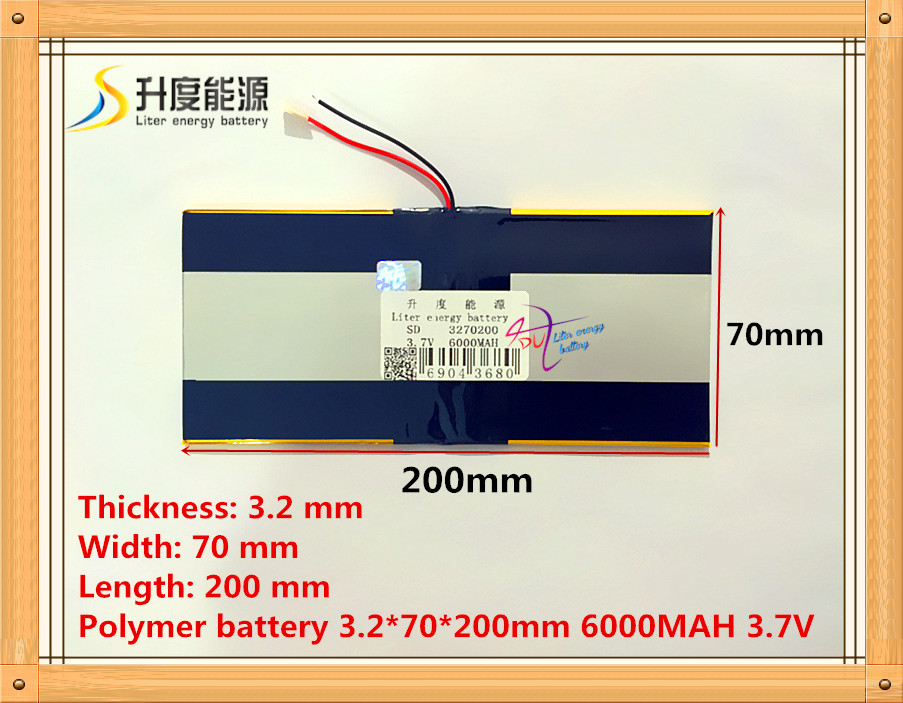 The tablet battery 3.7V 6000mAH 3270200 Polymer lithium ion / Li-ion battery for tablet pc battery 3 7v 3860116 3900mah lithium polymer battery led meter universal tablet pc