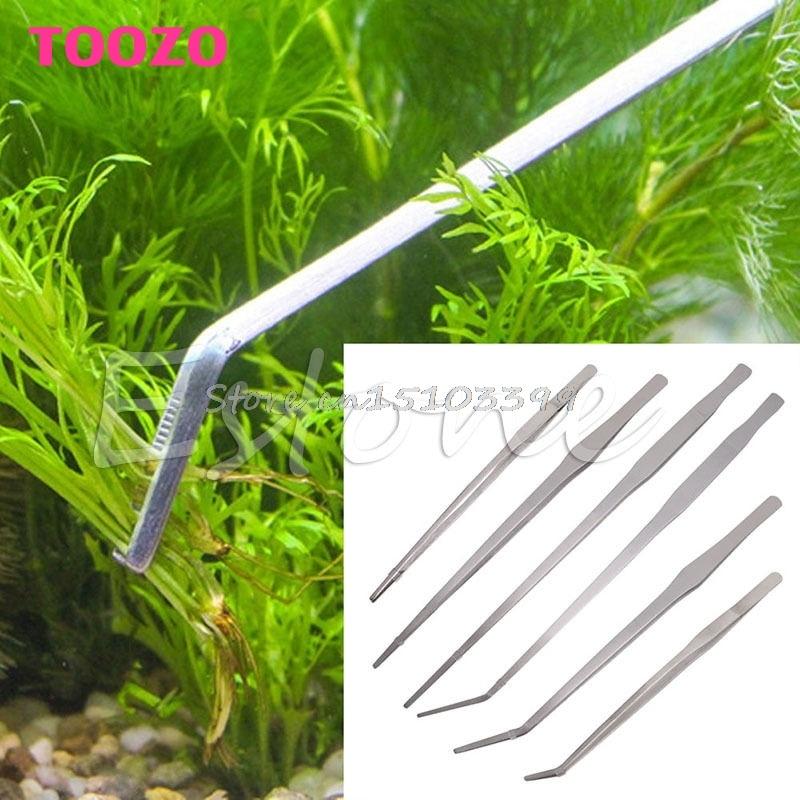 Aquarium Live Tank Curve Plant Long Tongs Stainless Steel Tweezers 27/38/48cm Drop Ship
