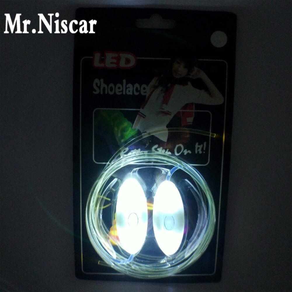 Mr.Niscar 1 pāris atdzist iedegties balts LED kurpju bikses flash balles slidošana kvēlojošs apavu mežģīnes zēnu meiteņu gaismas apavu stīgām