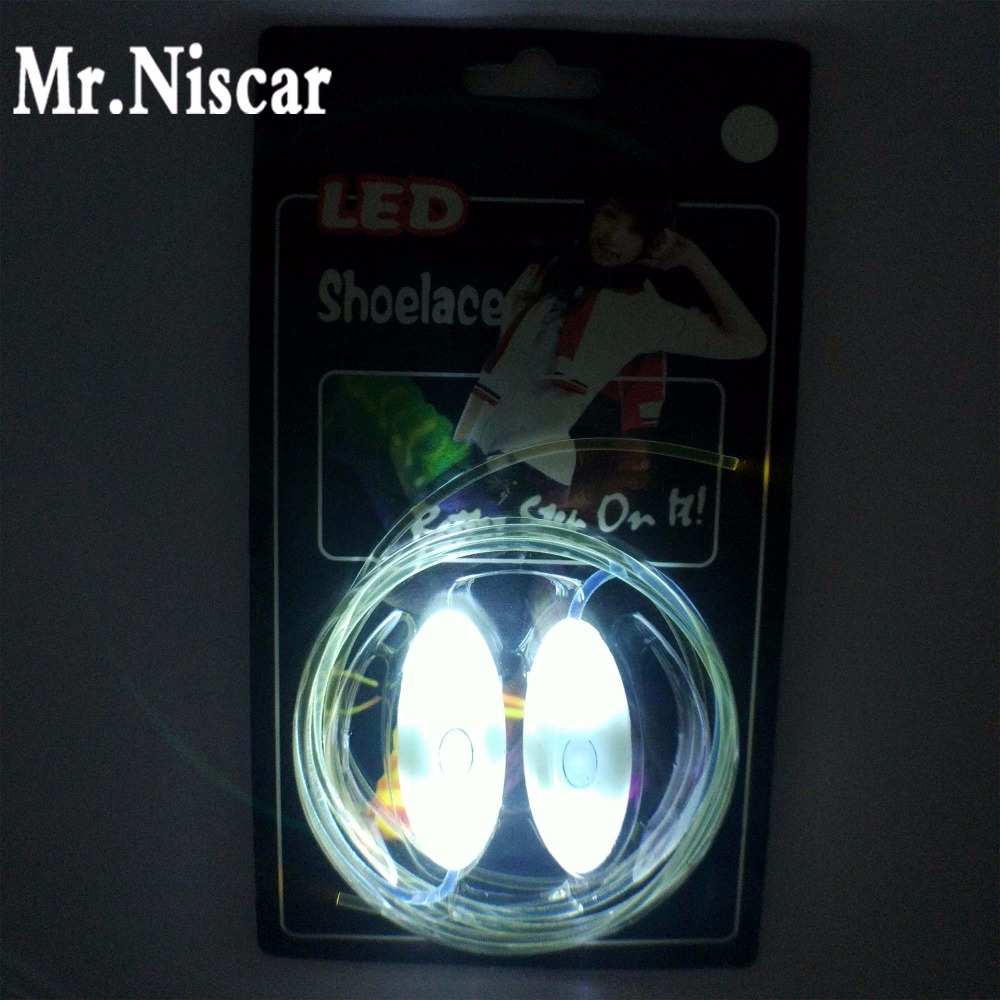 Mr.Niscar 1 Pair Cool Light up White LED Shoelaces Flash Party Skating Glowing Shoe Laces for Boys Girls Luminous Shoe Strings