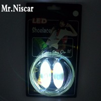 Mr Niscar 1 Pair Cool Light Up White LED Shoelaces Flash Party Skating Glowing Shoe Laces