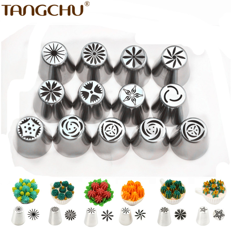 13pcs set Russian Stainless Steel Icing Piping Nozzles Pastry Tips Coupler Nozzle as Cake Decorating Tools
