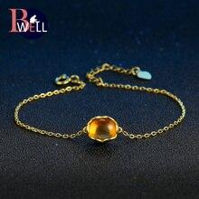 b04eade2108f Bwell BWHI046 Oval Natural citrino piedras preciosas pulseras y brazaletes  925 Sterling-plata-joyería oro amarillo cadena fina p.