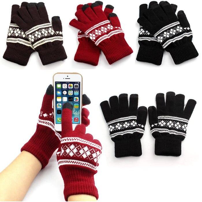 Hot Sale Best Selling New Jacquard Unisex  Screen Soft Gloves Mitten Warm Winter Knit